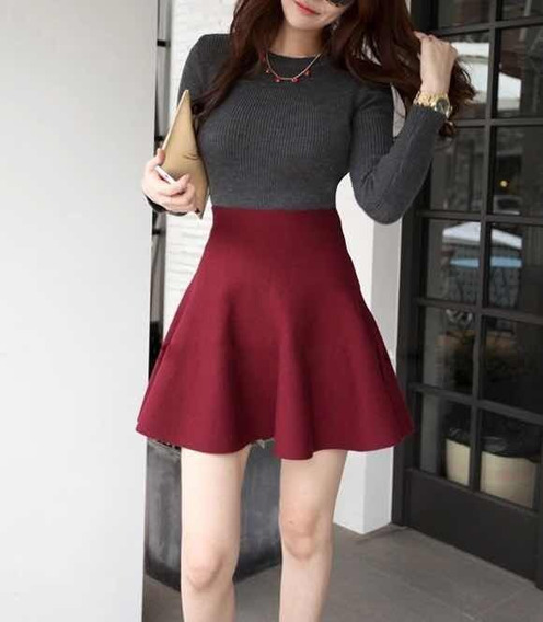 Falda Circular Roja Borgoña Vino