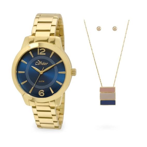 Kit Relógio Condor Feminino Co2035kqe/k4a Dourado