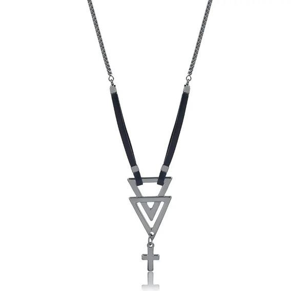 Colar Masculino Cruz Triângulo Ônix - Ths Acessórios