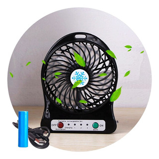 Ventilador Portatil Luz Led Cargador Usb + Pila Recargable