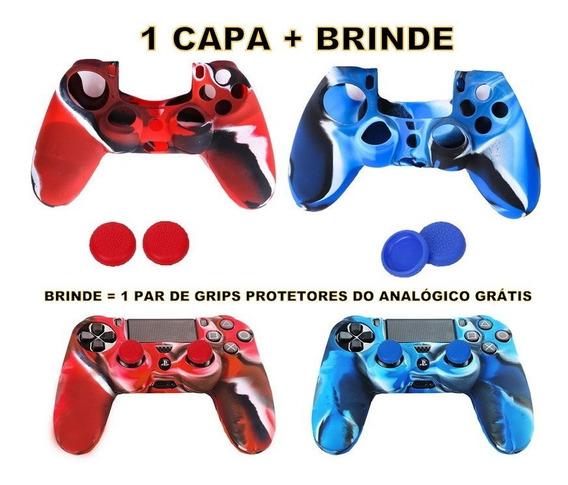 1 Capa Case Controle Ps4 Dualshock + 1 Par De Grips Gratis