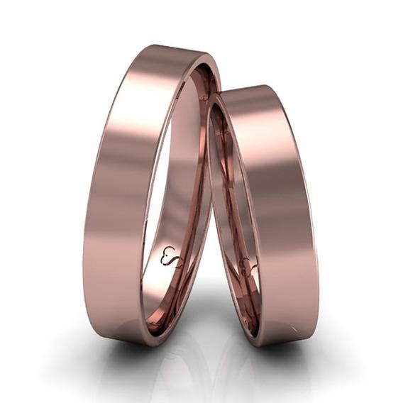 Alianças Casamento Ouro Rosê Polidas 4mm 5g