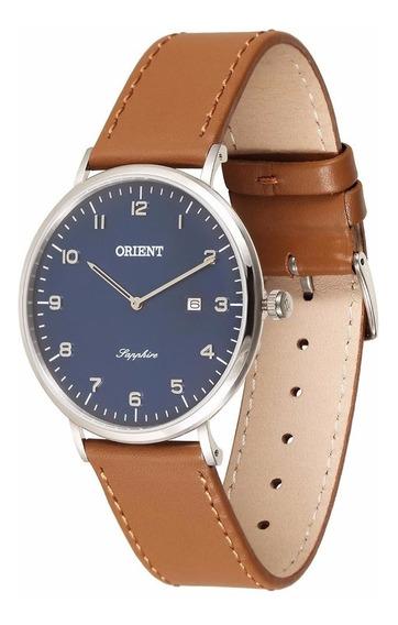 Relógio Orient Slim Safira De Couro Mbscs008 D2mx