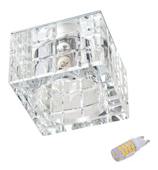 Spot De Cristal Embutir Quadrado Banheiro Ac974 + Led 3w