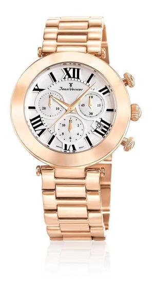 Relógio Pulso Jean Vernier Aço Feminino Social Jv06853