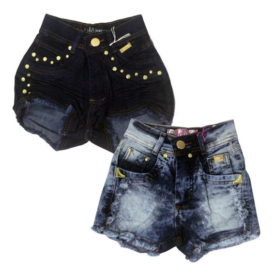 Kit 2 Shorts Jeans Infantil Meninas Feminino Tamanhos 6 A 14