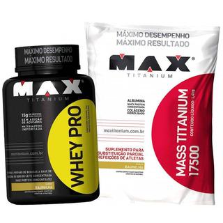 Kit Suplemento Whey Pro Max 1kg Mass Titanium 1,4k Revenda !