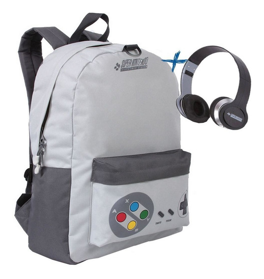 Mochila Escolar Super Nintendo Com Fone De Ouvido Original