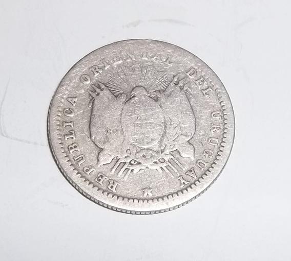 Moneda Uruguay 10 Cent. 1877 Plata