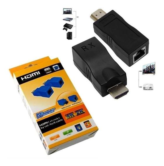 Adaptador Extensor Hdmi 4k Cabo Rede Pc Projetor Receptor Tv