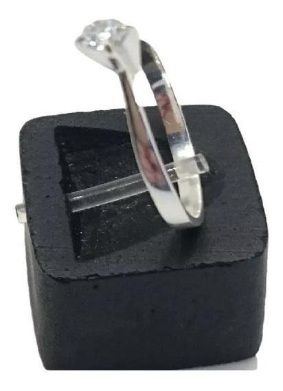 Anel Feminino Solitário 3mm Zircônia Nº15 Prata 925 Maciça
