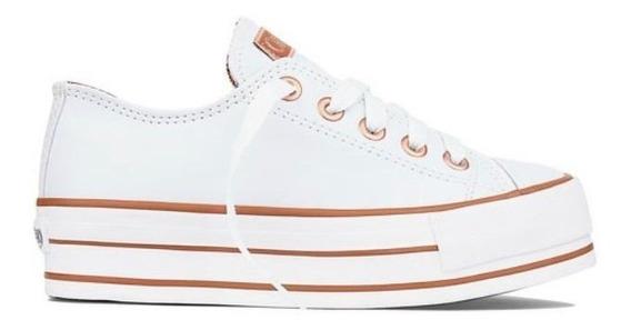 Tênis Capricho Flatforms Branco/cobre