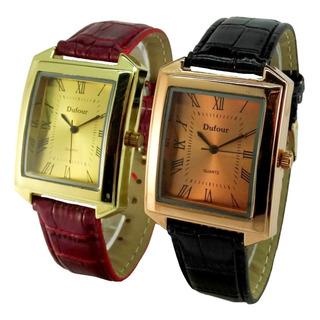Reloj Dufour Quartz Acero Cuero Vestir Garantia Oficial 12m