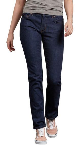 Dickies Fd146 Pantalón Mezclilla Stretch Recto De Mujer