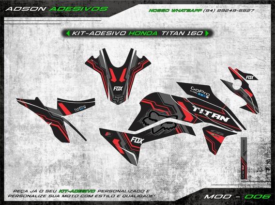 Kit Adesivo Honda Cg Titan 160 Kit Gráfico Fox Racing