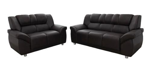 Imagen 1 de 4 de Juego De Living Sillon 3+2 Cuerpos Sofa Pu Negro Cordoba