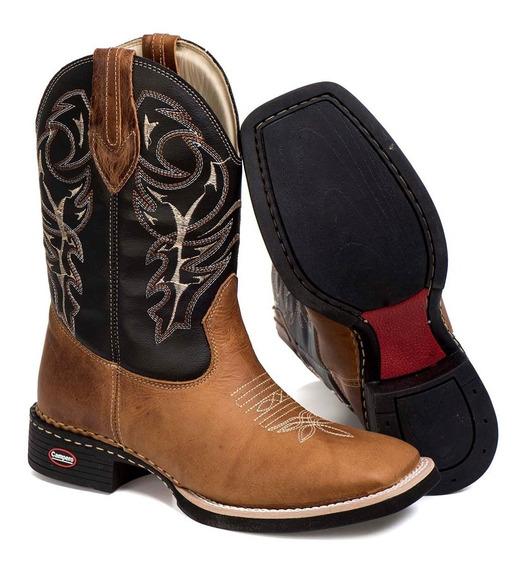 Bota Texana Masculina Rodeio Peão Couro Liso Bico Quadrado
