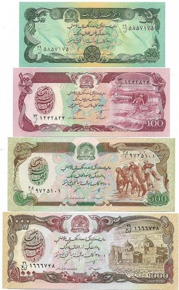 Afeganistão 50/100/500/1000 Fe - 4 Cédulas