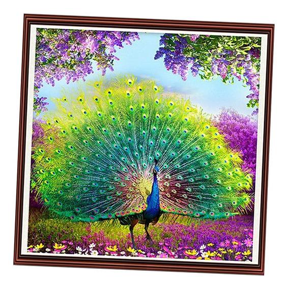 5d Magia Faux Diamante Pintura Pavão Grande Cauda Mosaico Or