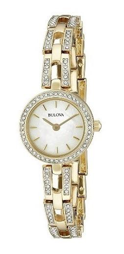 Relógio Feminino Bulova Dourado/aço/original Com Cristais