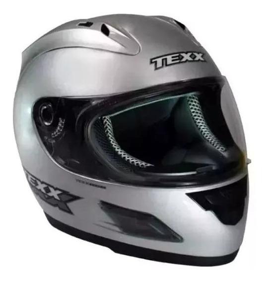 Capacete Motoqueiro Texx Rage Grafico 56 Prata