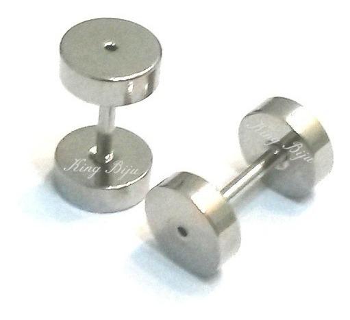 Alargadores Falsos Aço Inox 6mm Para Furo De Brinco 2 Unid.!