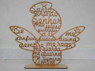 10 Lembrancinhas Nascimento Batizado Santo Anjo Oração Mdf
