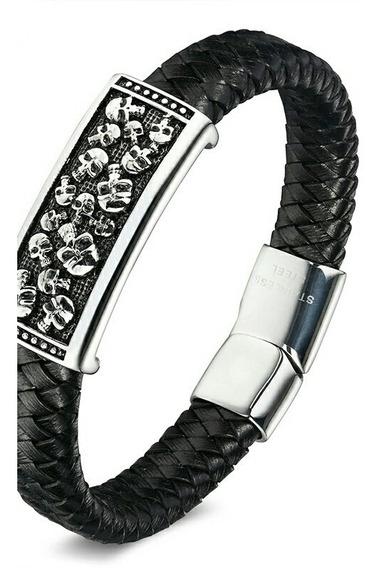 Pulseira Bracelete Masculina Caveira Couro Legítimo Aço Inox