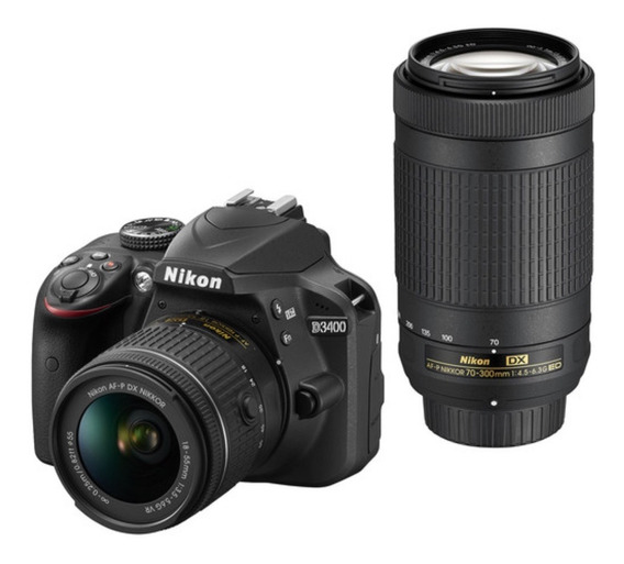 Nikon Camara Dslr D3400 Kit 18-55vr Y 70-300 Nueva Caja Env