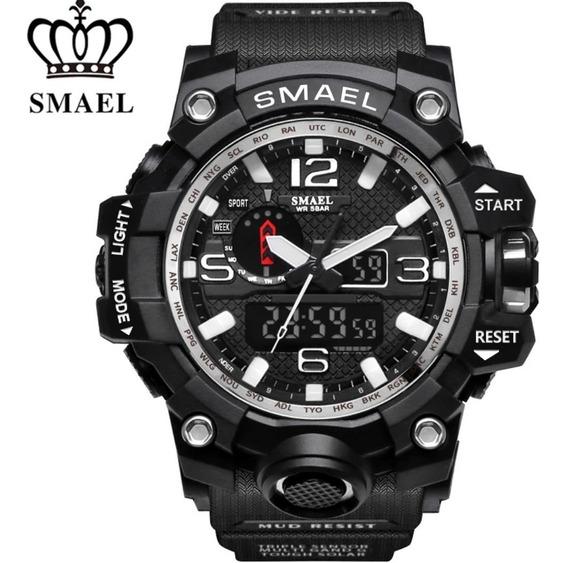 Relógio Smael Masculi 1545 Militar Shock Original/dual Time