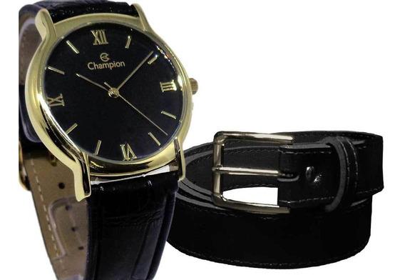 Relógio Champion Masculino Social Ch22206p + Cinto Social