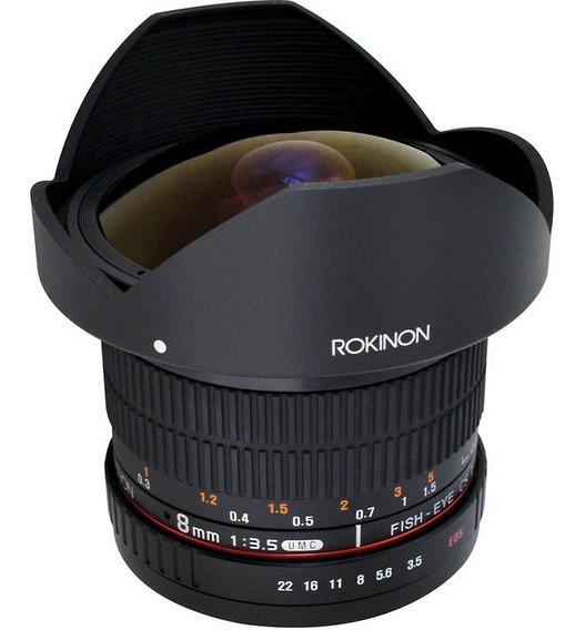 Lente Rokinon 8mm F/3.5 Hd Fisheye Canon Parasol Removivel