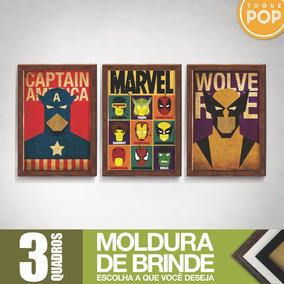 Kit 3 Quadro Decorativo Filmes Séries Marvel Grande 34x49cm