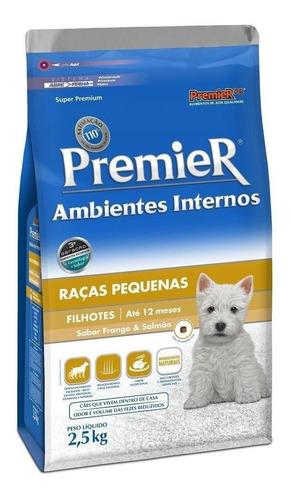 Ração PremieR Super Premium Ambientes Internos para cachorro filhote da raça pequena sabor frango/salmão em saco de 2.5kg