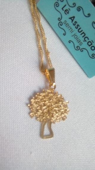 Colar Árvore Da Vida Banhado Em Ouro Amarelo 24k