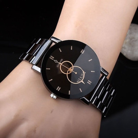 Relógio Barato Analógico Feminino Aço Cromo Preto Kevin