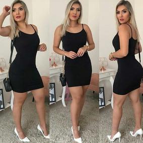 a3d01c4b5 Vestido Preto Canelado Moda Feminina 2019 Promoção Ref 1221b