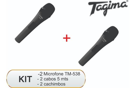 2 Microfones Dinâmico Tag Sound Com Fio Tagima Tm-538