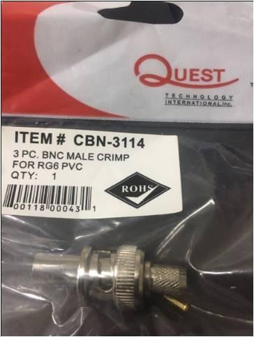 Conector Bnc Macho Para Cable Coaxial Rg-6 Marca Quest