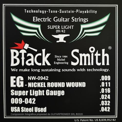 Cuerdas Encordado Guitarra Electrica Black Smith 09 Nw0942