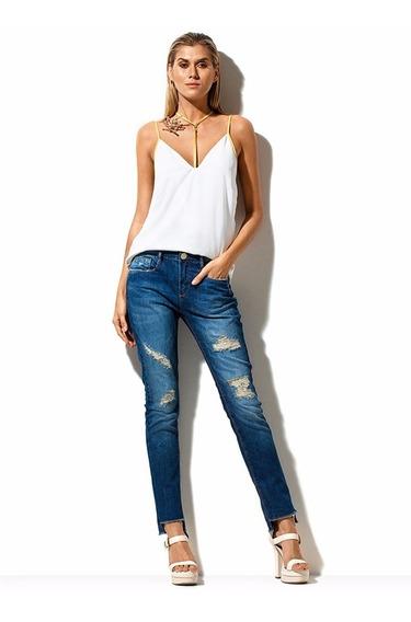 Calça Jeans Feminina Skinny Assimétrica Morena Rosa R.202659