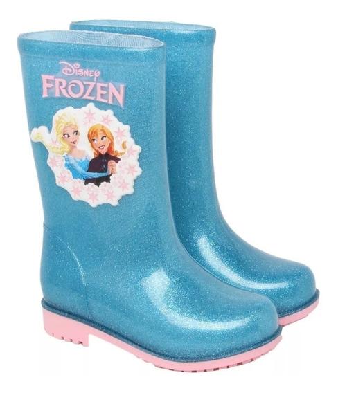Bota Infanti Galocha Frozen Vidro Glitter Azul Grendene 7430