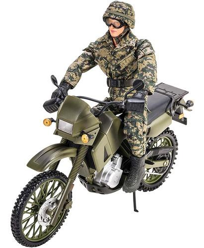 Moto Militar Set Guerra Soldadito De Juguete Grande Nuevo