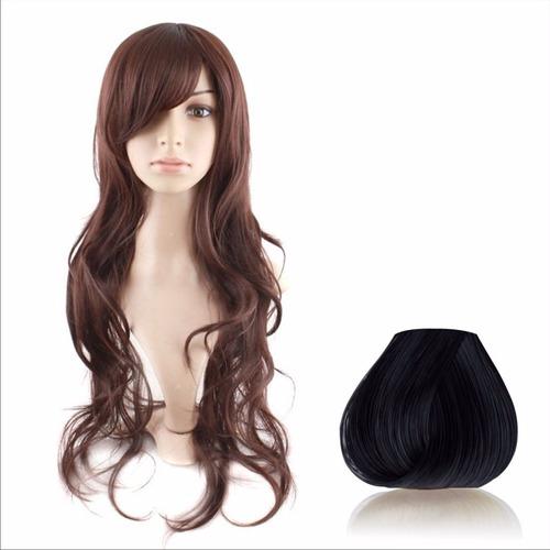 ! Peluca 60cm Negro Color Pelo Liso Natural  !