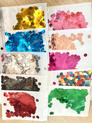 6 Pacotes Confetes Redondo Metalizado Para Balão 10g Cada
