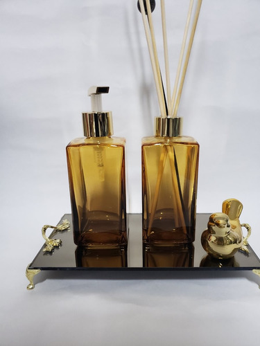 Imagem 1 de 3 de Kit Lavabo Banheiro Saboneteira Difusor Bandeja Luxo 250ml