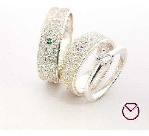 Argollas Para Matrimonio Plata Baño Oro Blanco Grabado Coraz