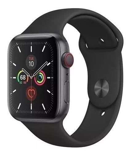 Apple Watch 5 Com Pulseira Sport Preta 44mm - Celular + Gps
