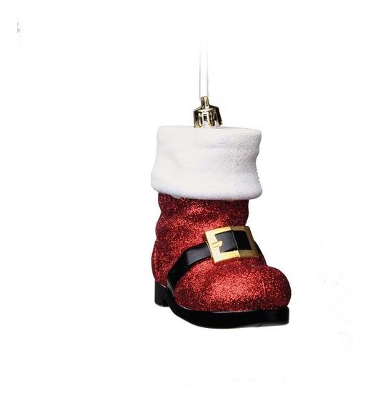 Enfeite Bota P/ Pendurar Árvore Natal 2 Pçs 10cm Vermelha