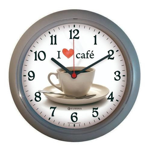 Imagem 1 de 4 de Relógio De Parede Eurora Cozinha Café Cinza 6586